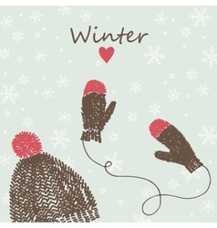 Card with knitted cap and mittens vector