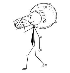 cartoon businessman carry light bulb vector image