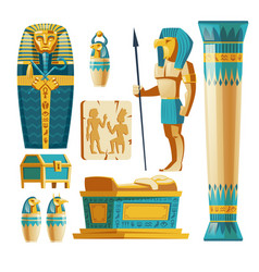 Cartoon set of ancient egypt objects vector