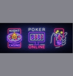 casino is a set of neon signs logo collection in vector image