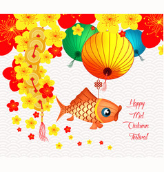 Chinese latern mid autumn festival oriental vector