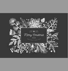 christmas hand drawn greeting card template vector image