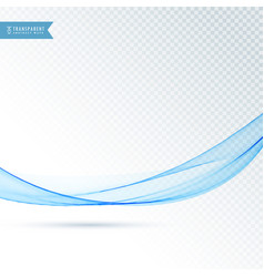 clean blue transparent wave flowing background vector image