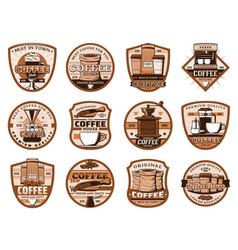 coffee drink and beverage icons beans and cups vector image