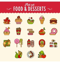 Collection of food icons in flat design style vector image