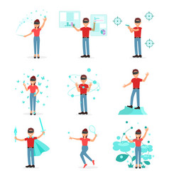 collection of people playing video game in virtual vector image