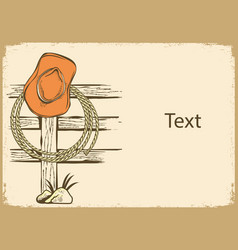 Cowboy american ranch background with hat vector
