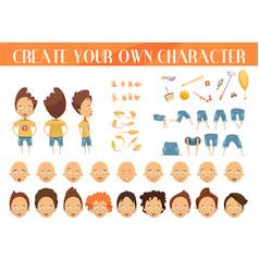 Creation character boy set vector