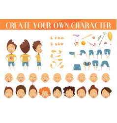 Creation of character boy set vector