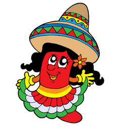 cute mexican chilli girl vector image