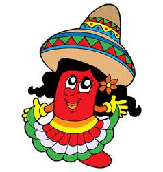 Cute mexican chilli girl vector