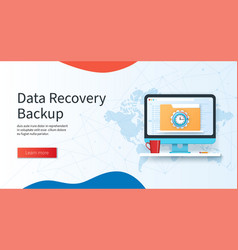 Data recovery backup banner computer with folder vector