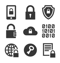 Digital encrypt technology security icons set vector