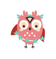 Dizzy cartoon owl bird colorful character vector