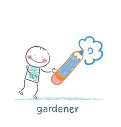 Draws a flower gardener vector