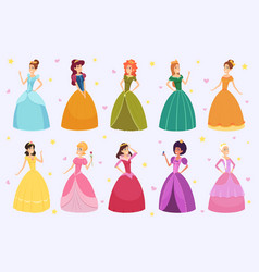 elegant fairytale woman cartoon young beautiful vector image