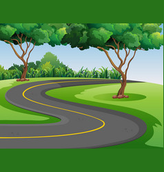 empty road in the middle of the park vector image