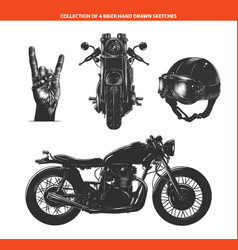 engraved style moto biker set for posters vector image