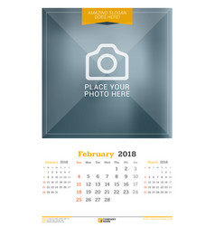 february 2018 wall calendar for 2018 year design vector image