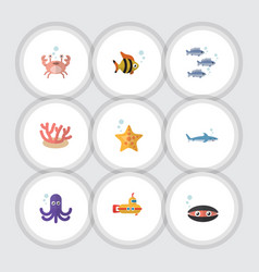 Flat icon nature set of cancer shark scallop and vector