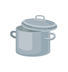flat icon of metal saucepan for cooking vector image