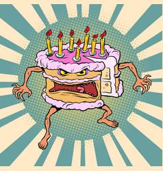 funny angry cake a bad birthday holiday sweet vector image