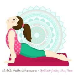 Girl in urdhva mukha svanasana with mandala vector