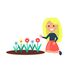 girl sits near flower bed female on white vector image