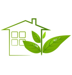 Green eco house logo with leafs and water drops vector image