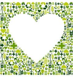 Green environmnet love icon set background vector image