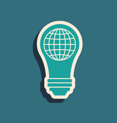 Green light bulb with inside world globe icon vector