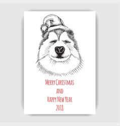 greeting card with a happy new year and christmas vector image