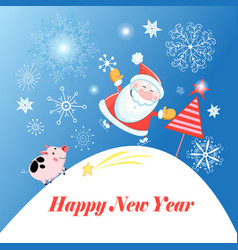 greeting christmas card with santa claus and a pig vector image