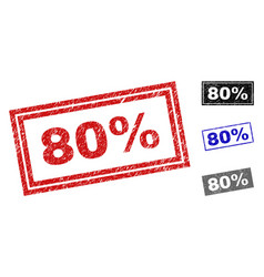 grunge 80 percent scratched rectangle watermarks vector image