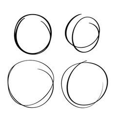 hand drawn circle line sketch set circular vector image