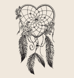 hand drawn heart shaped dream catcher vector image