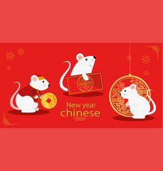 Happy new year chinese 2020 with rats vector