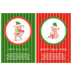 happy new year postcard piglets xmas symbol text vector image