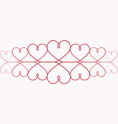 hearts for valentines day one line drawing vector image