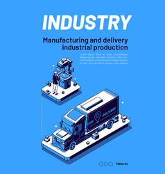 industry isometric web banner manufacturing vector image