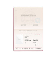 international biometric passport front page mockup vector image