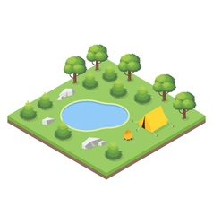 Isometric 3d of forest camp vector