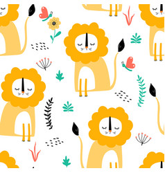 lions hand-drawn backdrop vector image
