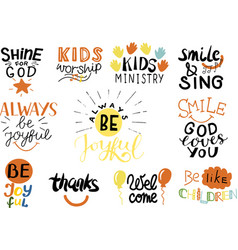 logo set with bible verse and christian quotes vector image
