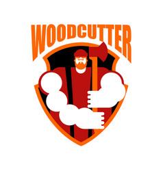 Lumberjack logo woodcutter sign lumberman symbol vector