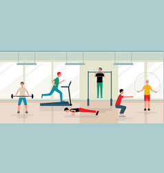 Men doing exercises and training in gym - flat vector