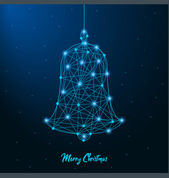 merry christmas and new year design with low poly vector image