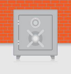 Metal safe on brick wall background vector image