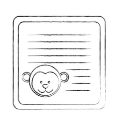 monochrome blurred card with male monkey head vector image