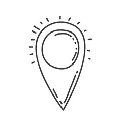 monochrome contour of map pointer vector image